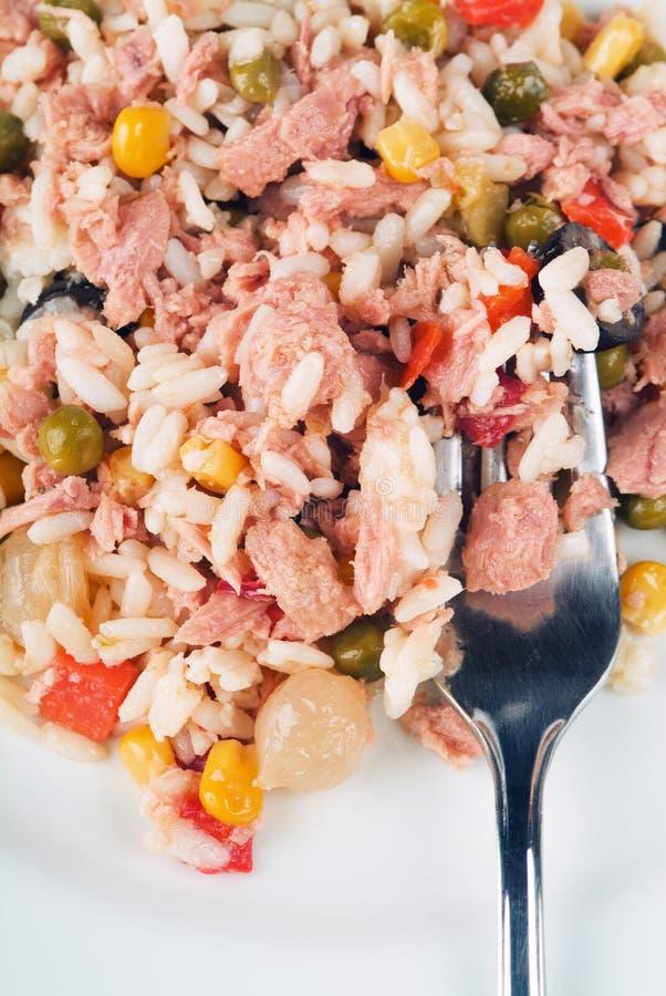 овощи туны салата риса рыб стоковое изображение rf