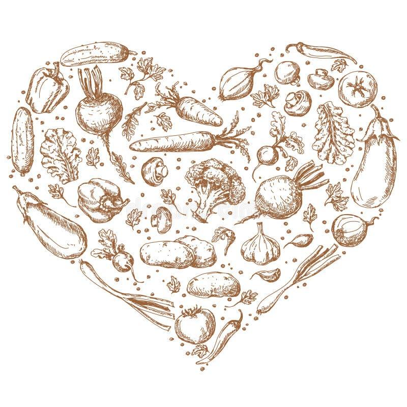 Овощи установленные в форму сердца бесплатная иллюстрация