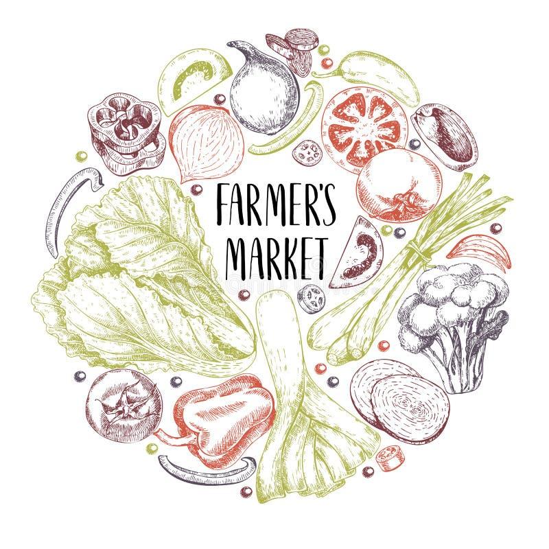 Овощи фермы вектора нарисованные рукой Круглый состав границы Томат, лук, капуста, перец, лук-порей Выгравированное искусство орг иллюстрация штока