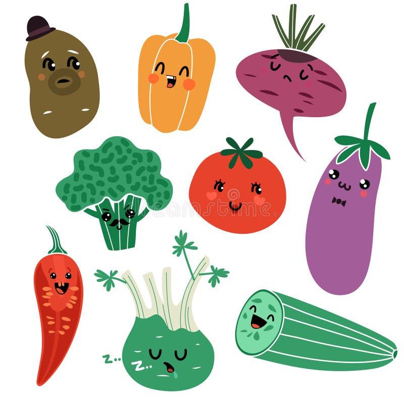 Овощи шаржа Натуральных продуктов еды Vegan вектор сторон овоща ребенка здоровых очень вкусный свежий изолировал характеры иллюстрация штока