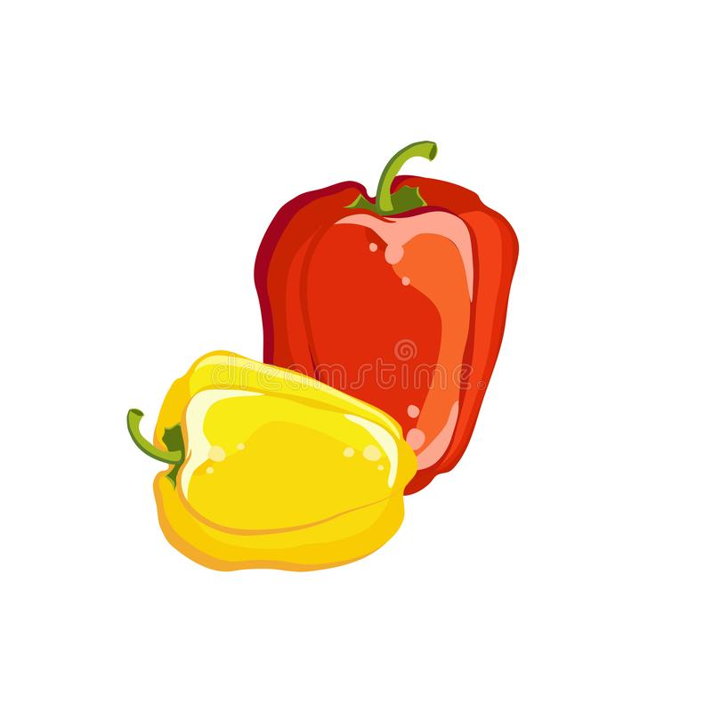 Bulgarian pepper yellow and red, fresh vegetable. Vector illustration. stock illustration