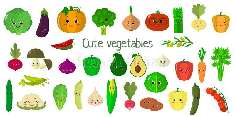 Овощи Kawai милые и травы, стороны набора характеров мега 27 элементов Для вашего дизайна карт иллюстрация штока