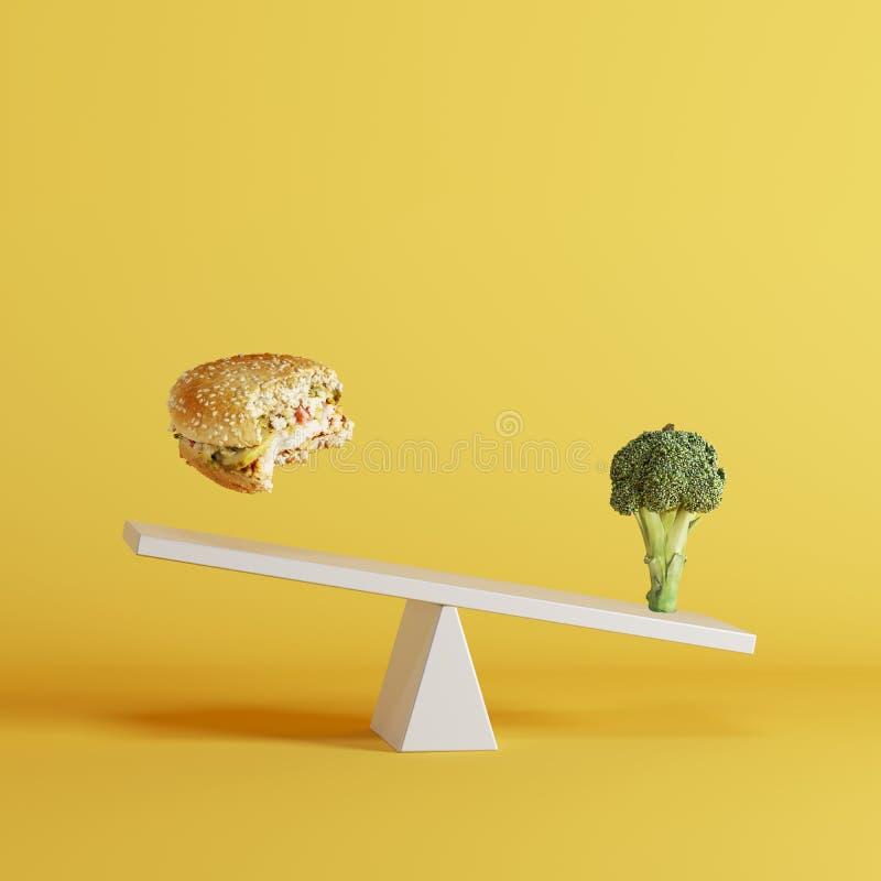 Овощ брокколи наклоняя seesaw с плавая бургером на другом конце на желтой предпосылке бесплатная иллюстрация
