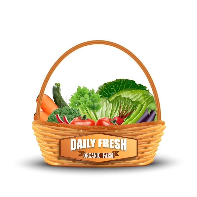 Овощ в плетеной корзине на белизне бесплатная иллюстрация