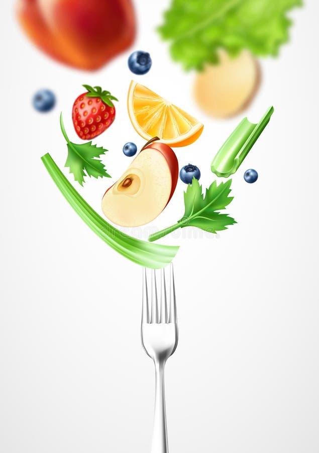 Овощ еды 3d вектора здоровый на серебряной вилке иллюстрация вектора