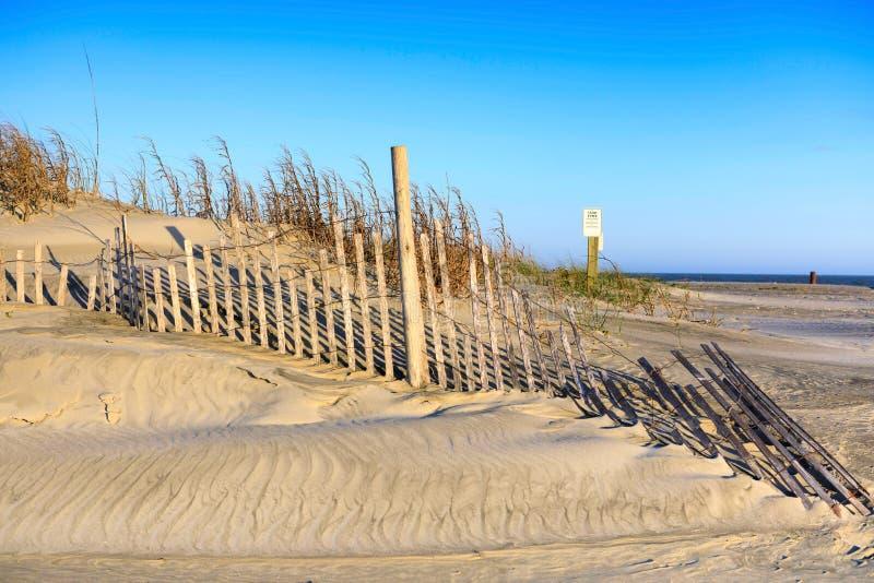Овсы и размывание моря песчанных дюн ограждая SC пляжа сумасбродства стоковая фотография