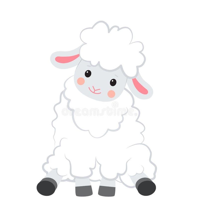 Овца вектора мультфильма усмехаясь белая сидит на белой предпосылке бесплатная иллюстрация