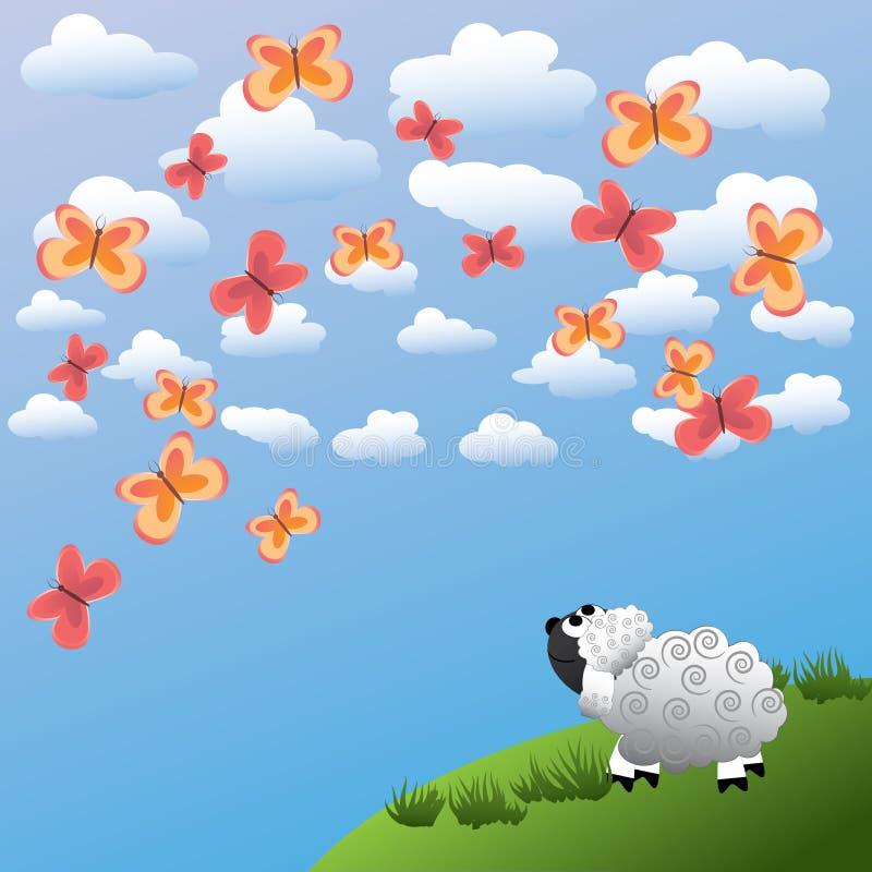 овцы бабочки иллюстрация штока