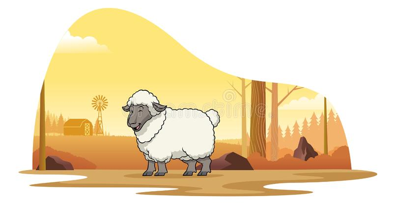 Овцы в ферме со стилем мультфильма иллюстрация штока