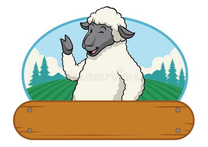 Овцы в ферме с деревянным пустым пространством иллюстрация вектора