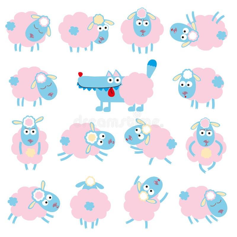 Овцы и волк иллюстрация штока