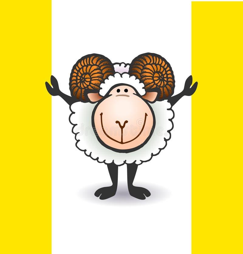 Овцы с большими рожками иллюстрация штока