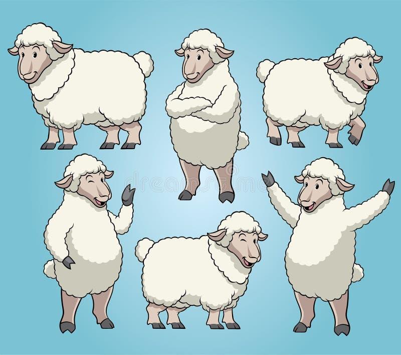 Овцы с набором стиля мультфильма иллюстрация вектора