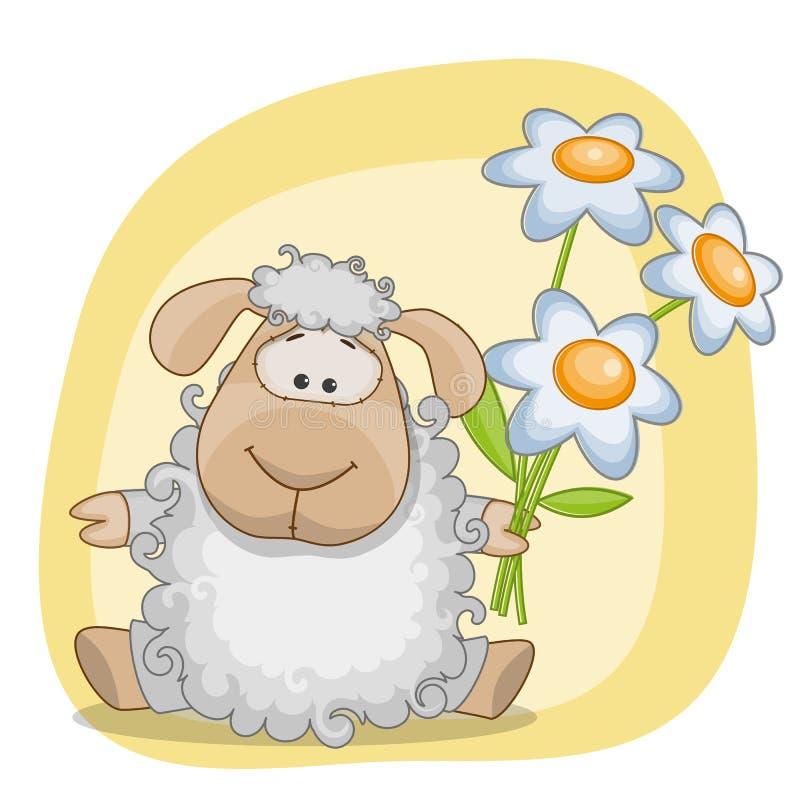 Овцы с цветками бесплатная иллюстрация