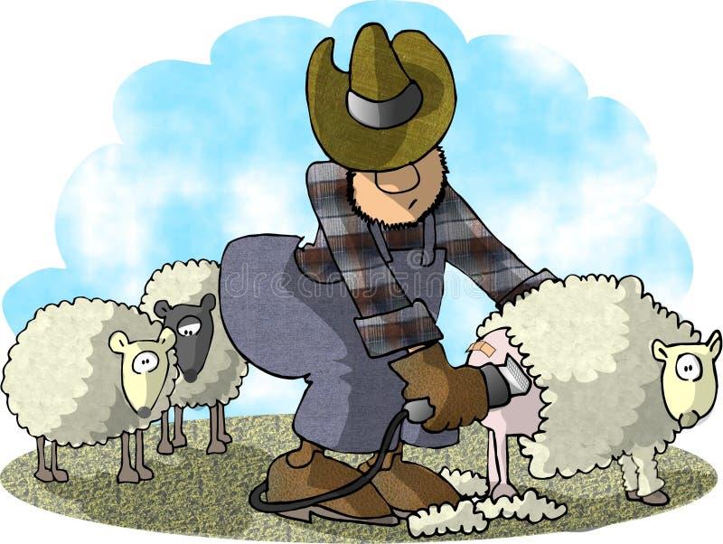 овцы shearer иллюстрация вектора