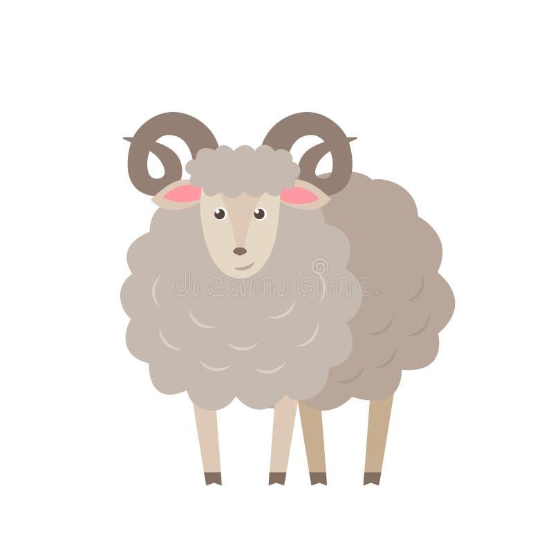 Овцы vector плоская иллюстрация изолированная на белой предпосылке Персонаж из мультфильма овечки животноводческой фермы иллюстрация вектора