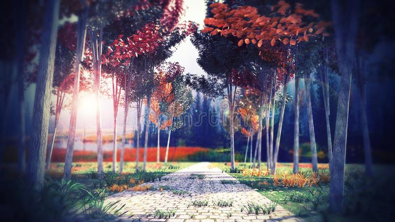 Оглушать ландшафт в парке иллюстрация штока