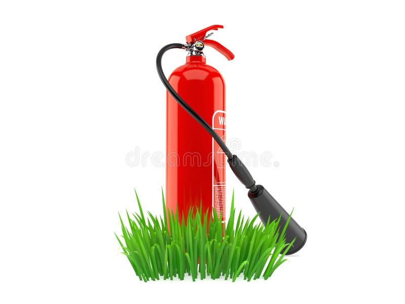 Огнетушитель на траве иллюстрация штока