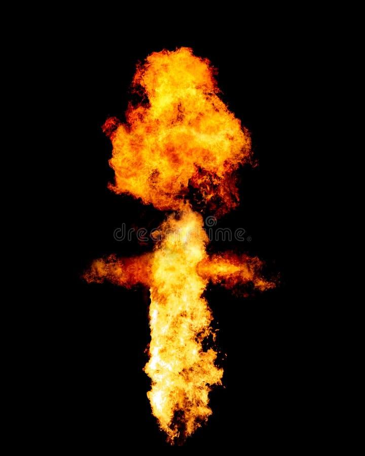 Огонь взрыва изолированный на черноте стоковая фотография