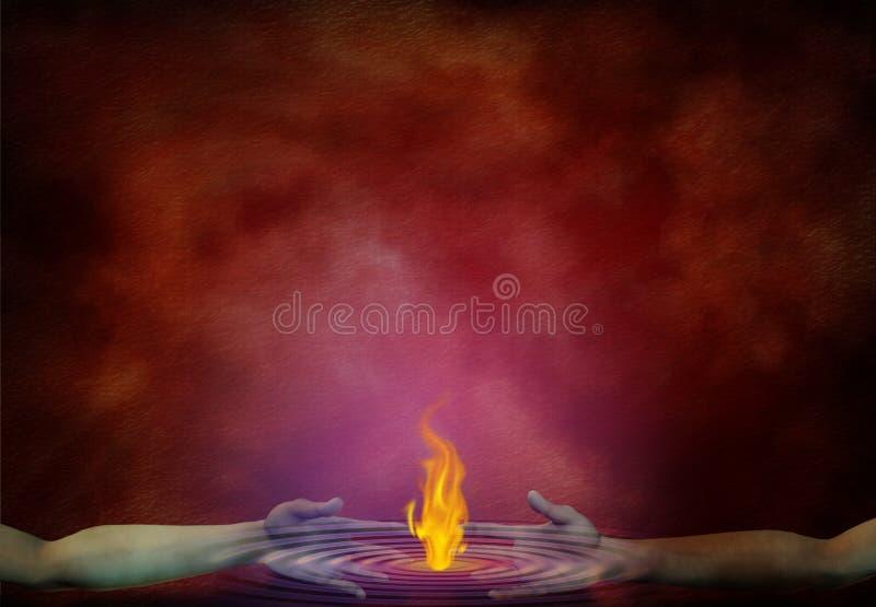 Огонь в руках иллюстрация штока