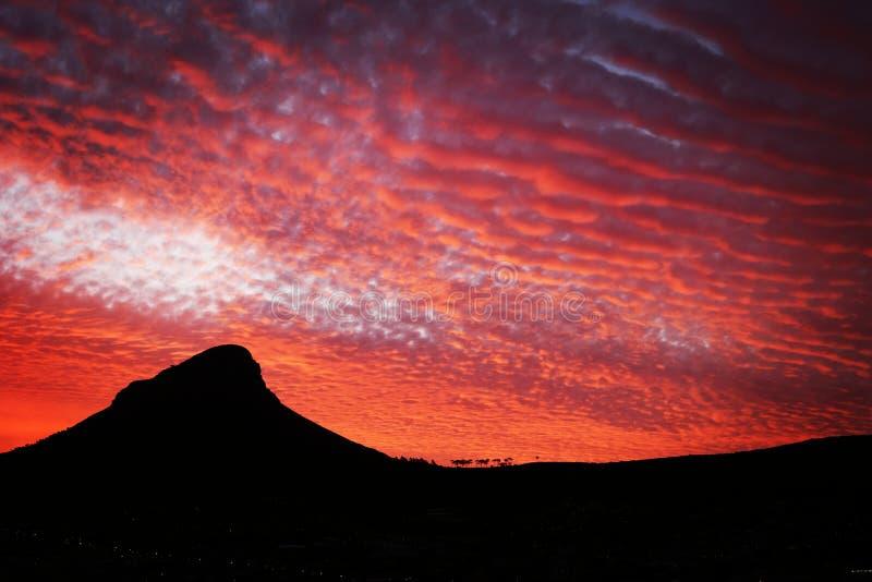 Огонь захода солнца над львами возглавляет в Кейптауне стоковое изображение