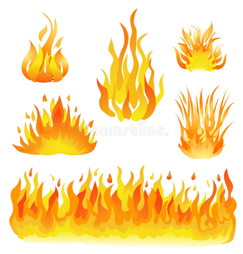Огонь и установленная пламенами иллюстрация вектора элементы конструкции белые иллюстрация вектора