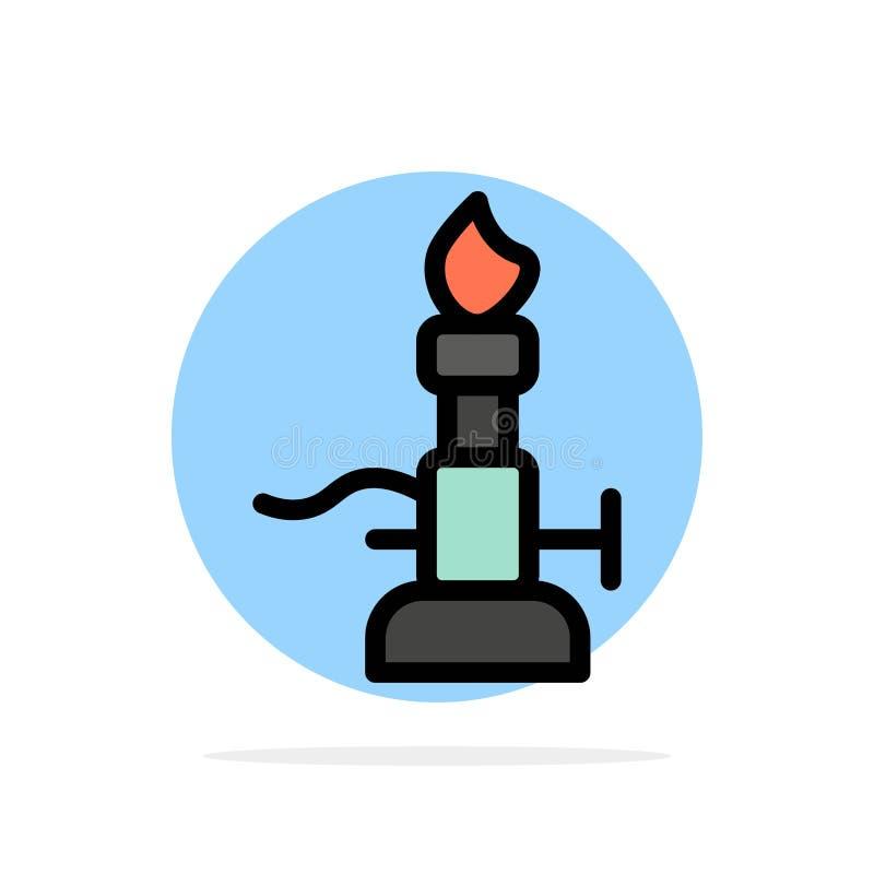 Огонь, лаборатория, свет, наука, значок цвета предпосылки круга конспекта факела плоский иллюстрация вектора