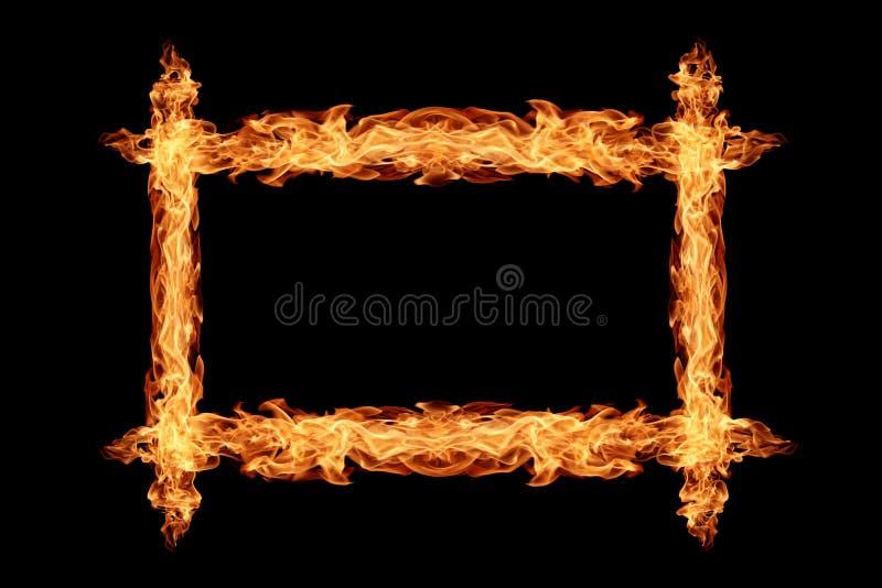 Огонь, сделанный из огня на черном фоне стоковые фотографии rf