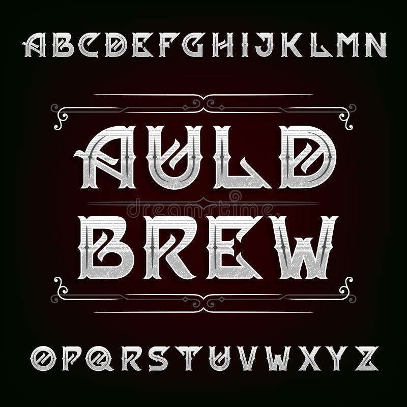 Огорченный винтажный шрифт вектора алфавита бесплатная иллюстрация