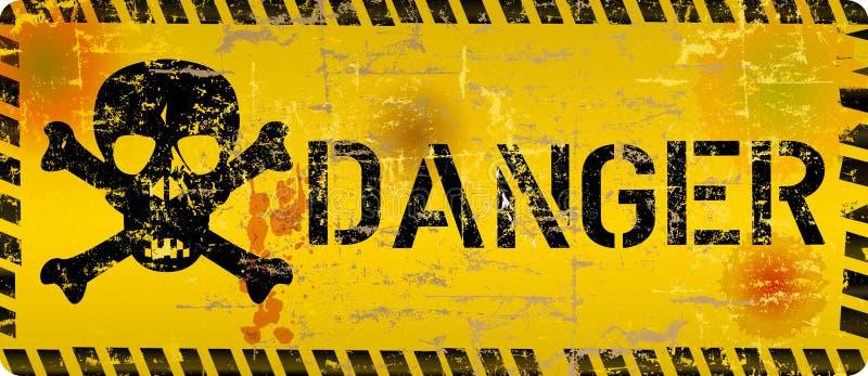 Огорченный знак опасности с черепом и текстурой grunge, преступлением кибер, символом компьютерного вируса иллюстрация вектора