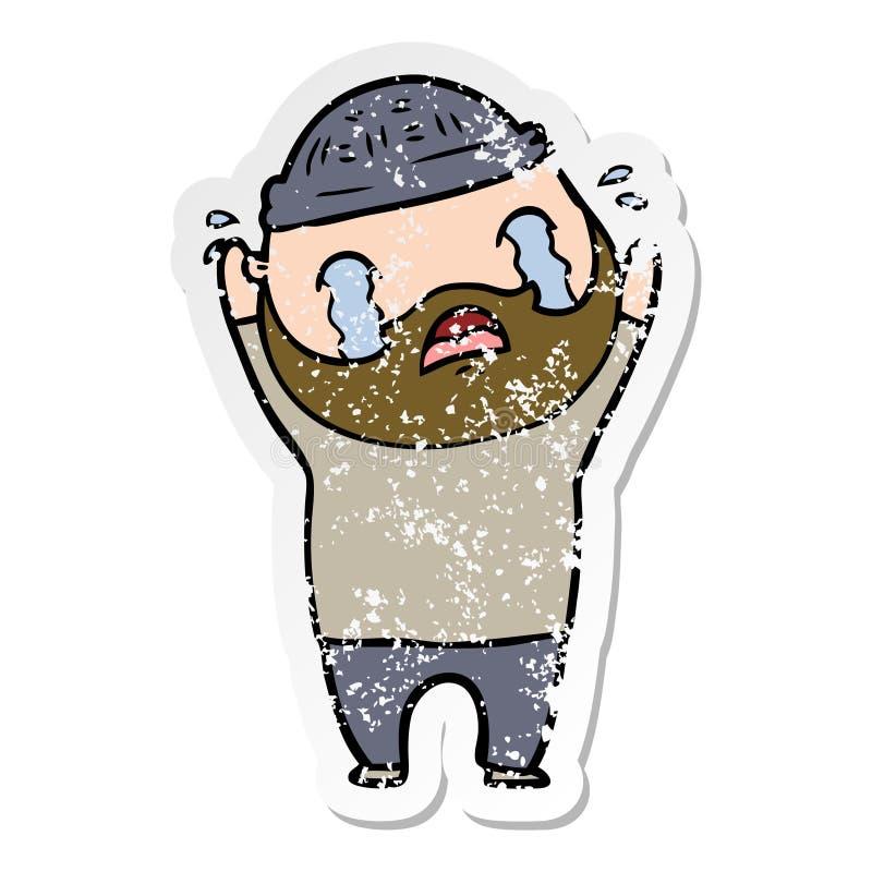 огорченный стикер плакать человека мультфильма бородатый иллюстрация штока