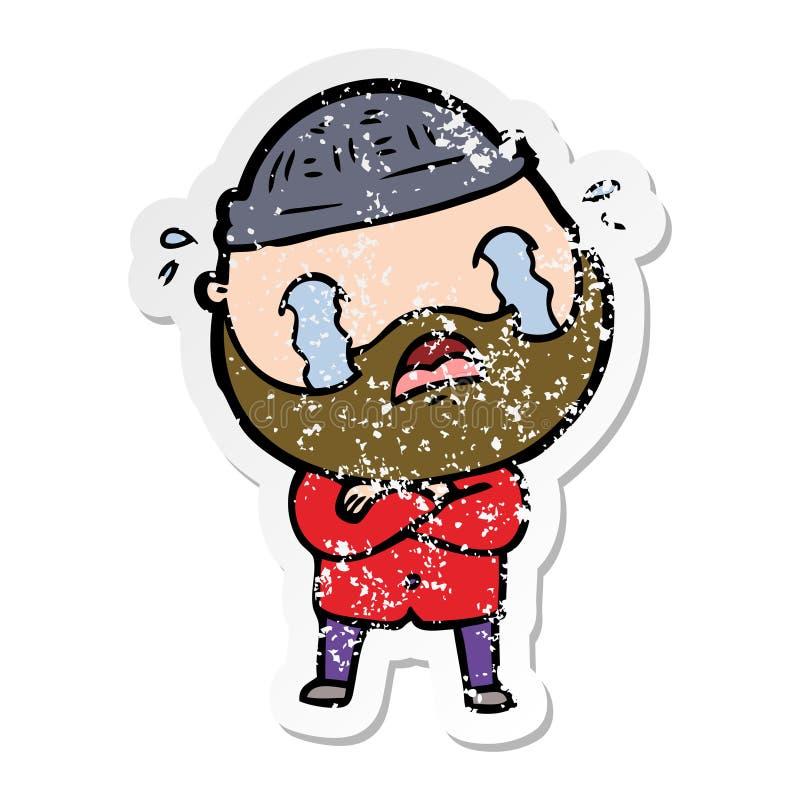 огорченный стикер плакать человека мультфильма бородатый бесплатная иллюстрация