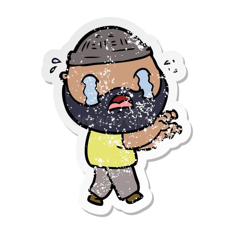 огорченный стикер плакать человека мультфильма бородатый иллюстрация вектора