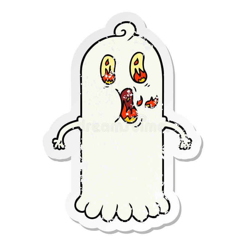 огорченный стикер призрака мультфильма с глазами пылать иллюстрация штока