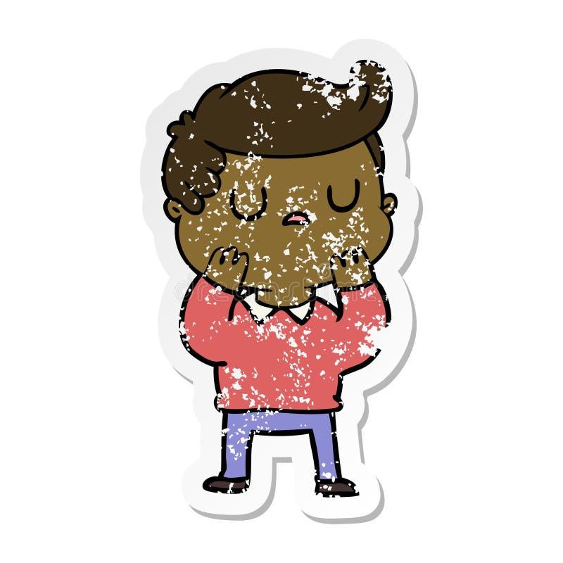 огорченный стикер рассмотрения человека мультфильма отчужденного иллюстрация вектора