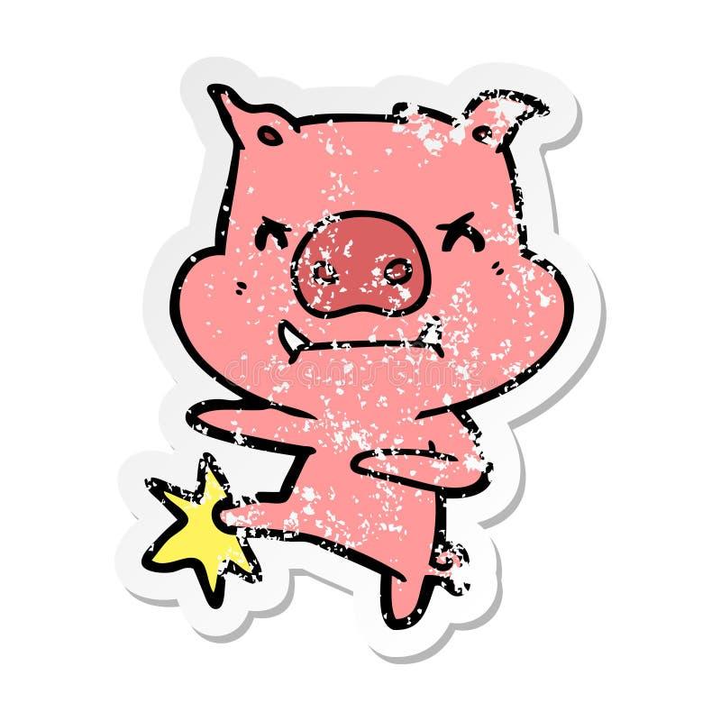 огорченный стикер сердитый пинать карате свиньи мультфильма иллюстрация вектора