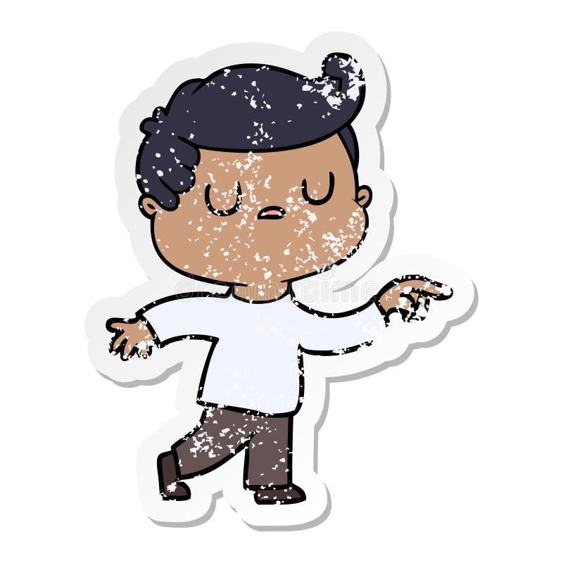 огорченный стикер человека мультфильма отчужденного указывая палец иллюстрация штока