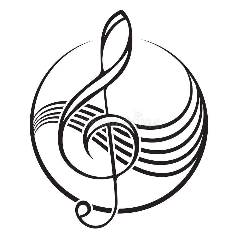 логотип дискантового ключа иллюстрация вектора