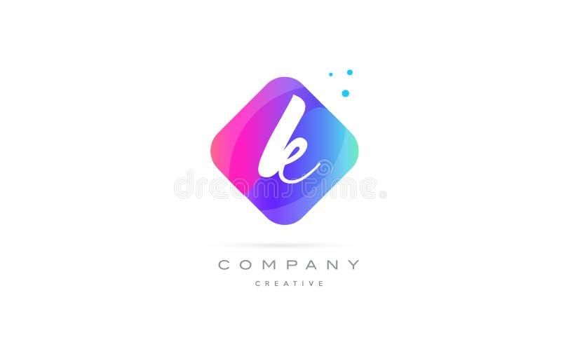 логотип написанный рукой компании конспекта косоугольника k розовой голубой письма ic иллюстрация вектора