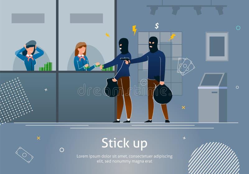 Ограбление банка замаскированным преступником, девушкой дает деньги бесплатная иллюстрация