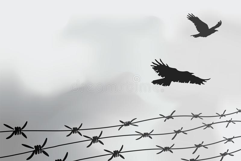 Ограждать колючей проволоки Загородка сделанная из провода с шипами Черно-белая иллюстрация к лагерю консоли холокоста бесплатная иллюстрация