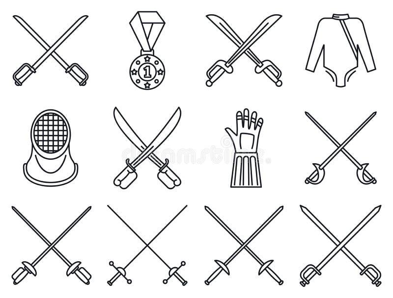 Ограждать набор значков спорта, стиль плана иллюстрация вектора