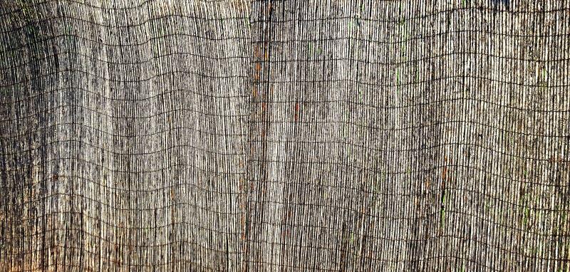 Ограждать элемента, сделанный бочонков зрелого бамбука, покрашенных с черным лаком, который окончательно слез и шелушился под стоковые фото