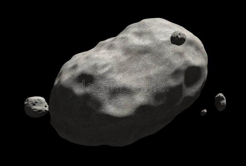 Огромная комета с кратерами разбросала над своей поверхностью, бросая через космос иллюстрация вектора