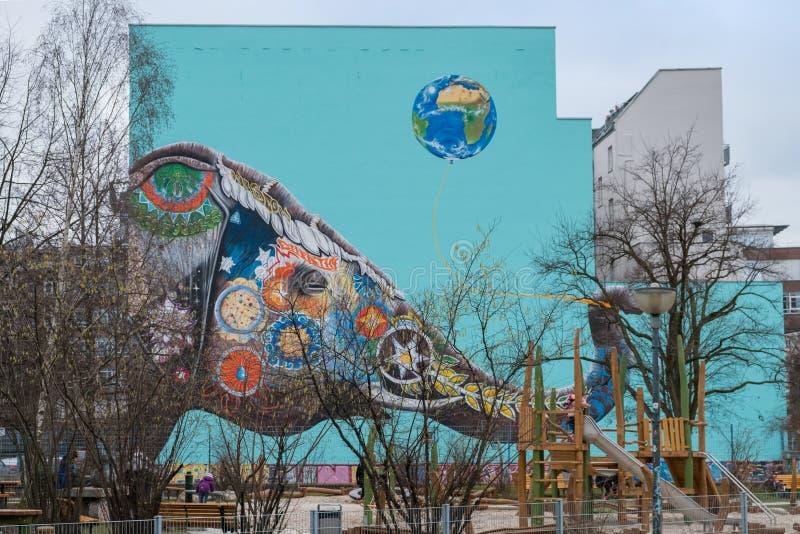 Огромная стенная роспись слона стоковое изображение rf