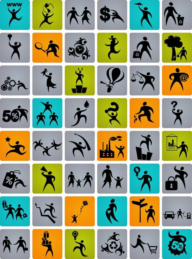 Огромное собрание абстрактных логосов людей иллюстрация вектора