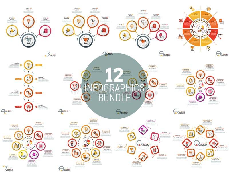 Огромное собрание простых infographic планов иллюстрация вектора