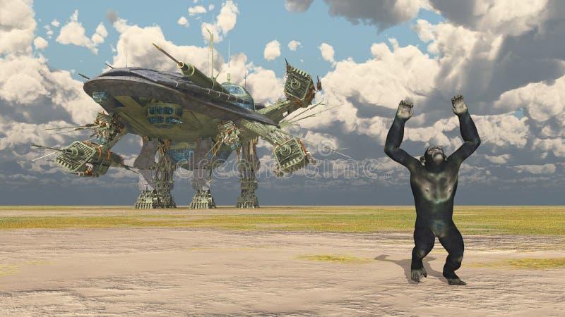 Огромные корабль и шимпанзе в ландшафте бесплатная иллюстрация