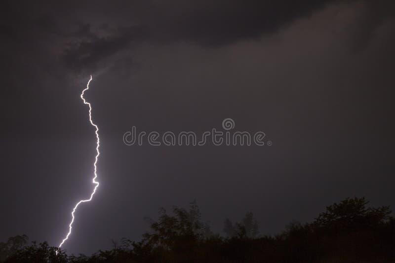 Огромные молнии вилки и гром во время тяжелого лета бушуют стоковое фото