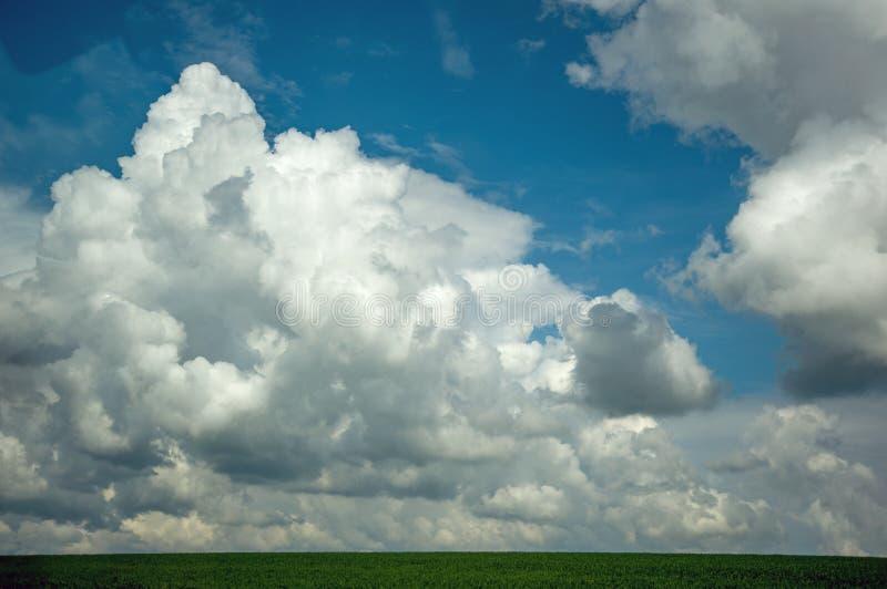 Огромные пушистые облака на небе стоковое фото